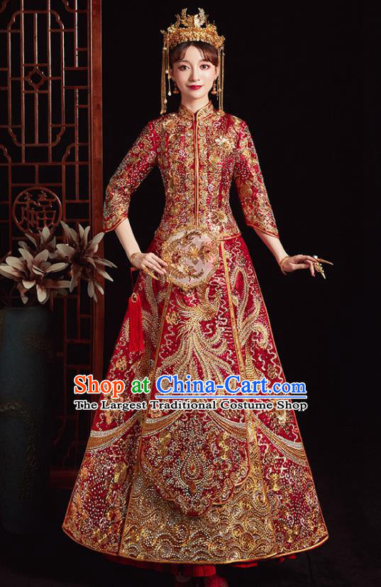 Chinese Ancient Bride Embroidered Phoenix Red Costumes Diamante Xiu He Suit Wedding Blouse and Dress Traditional Bottom Drawer for Women