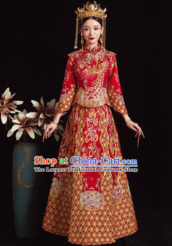 Chinese Ancient Bride Embroidered Phoenix Red Costumes Xiu He Suit Wedding Blouse and Dress Traditional Bottom Drawer for Women
