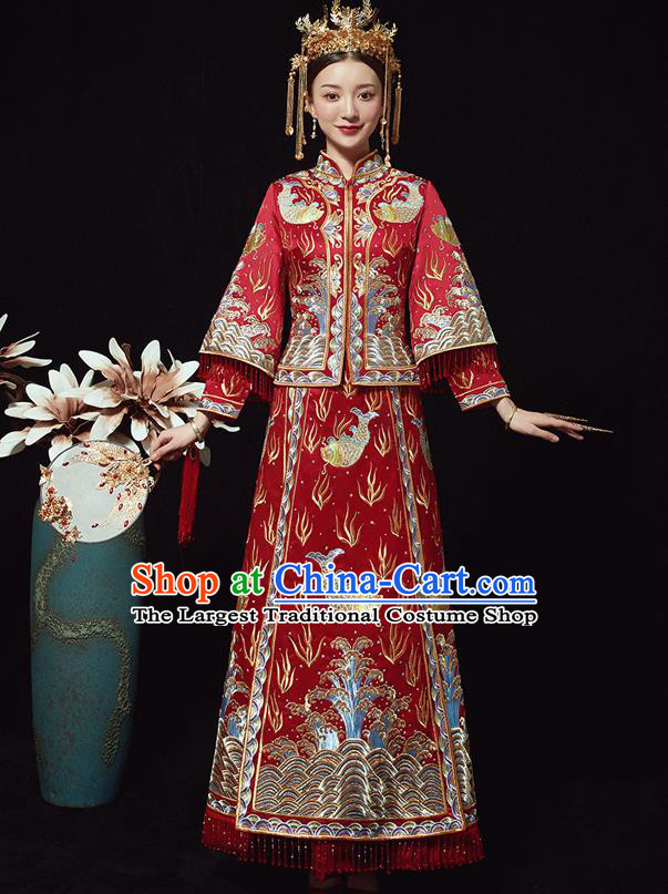 Chinese Ancient Bride Embroidered Carps Red Costumes Xiu He Suit Wedding Blouse and Dress Traditional Bottom Drawer for Women