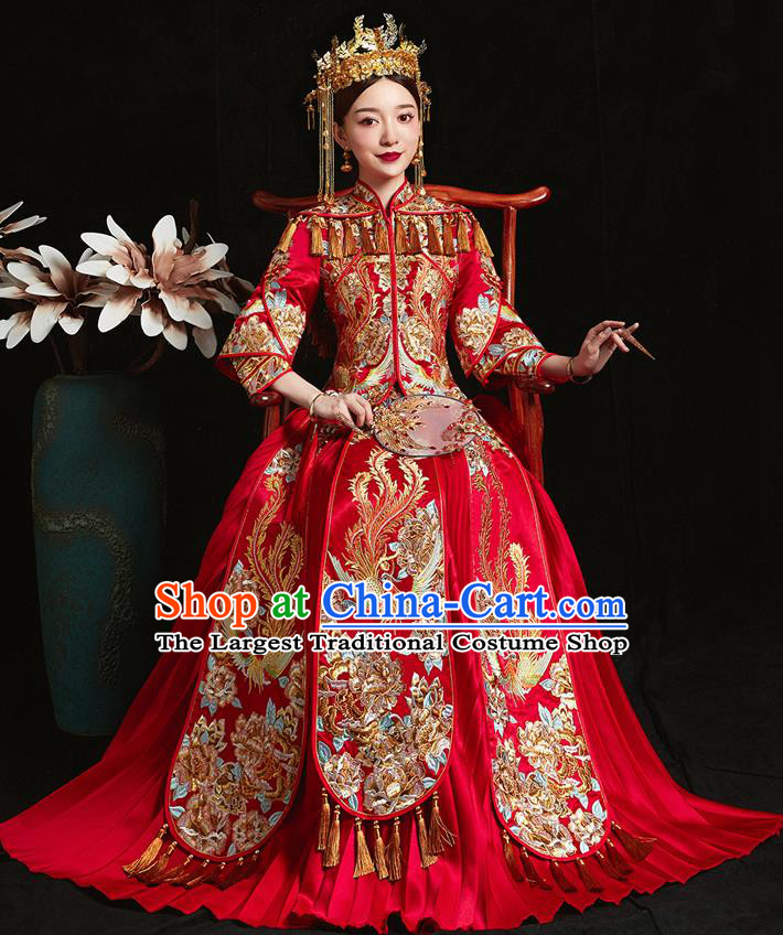Chinese Ancient Bride Embroidered Phoenix Peony Red Costumes Xiu He Suit Wedding Blouse and Dress Traditional Bottom Drawer for Women
