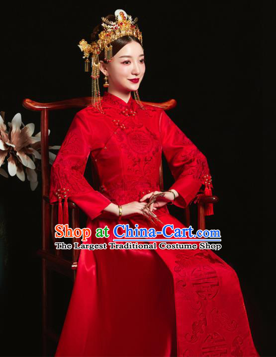 Chinese Ancient Bride Embroidered Red Costumes Xiu He Suit Wedding Blouse and Dress Traditional Bottom Drawer for Women