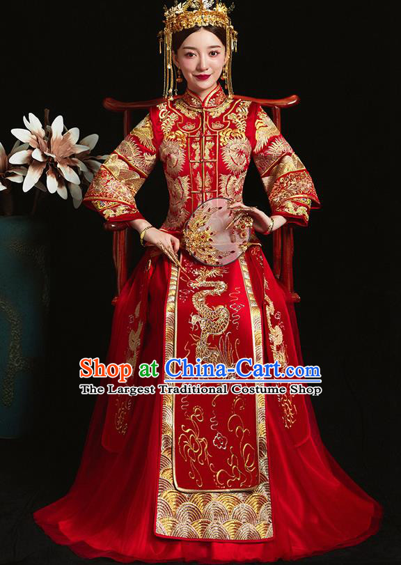 Chinese Ancient Bride Embroidered Dragon Red Xiu He Suit Wedding Costumes Blouse and Dress Traditional Bottom Drawer for Women