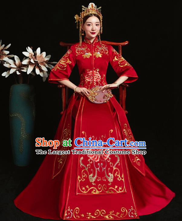Chinese Ancient Bride Embroidered Peony Red Xiu He Suit Wedding Costumes Blouse and Dress Traditional Bottom Drawer for Women