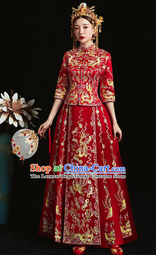 Chinese Ancient Bride Embroidered Dragon Phoenix Red Xiu He Suit Wedding Costumes Blouse and Dress Traditional Bottom Drawer for Women
