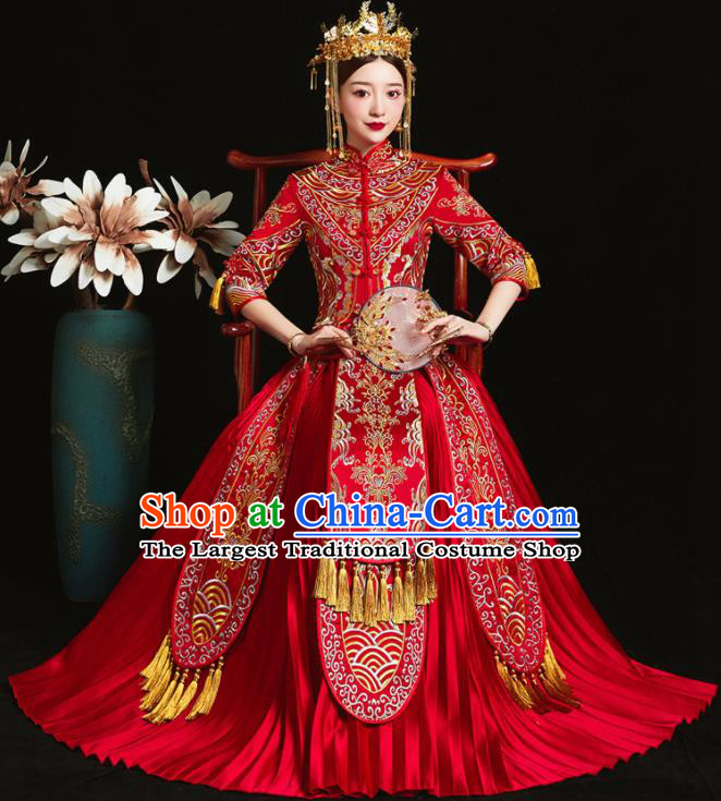 Chinese Ancient Bride Embroidered Red Xiu He Suit Wedding Costumes Blouse and Dress Traditional Bottom Drawer for Women