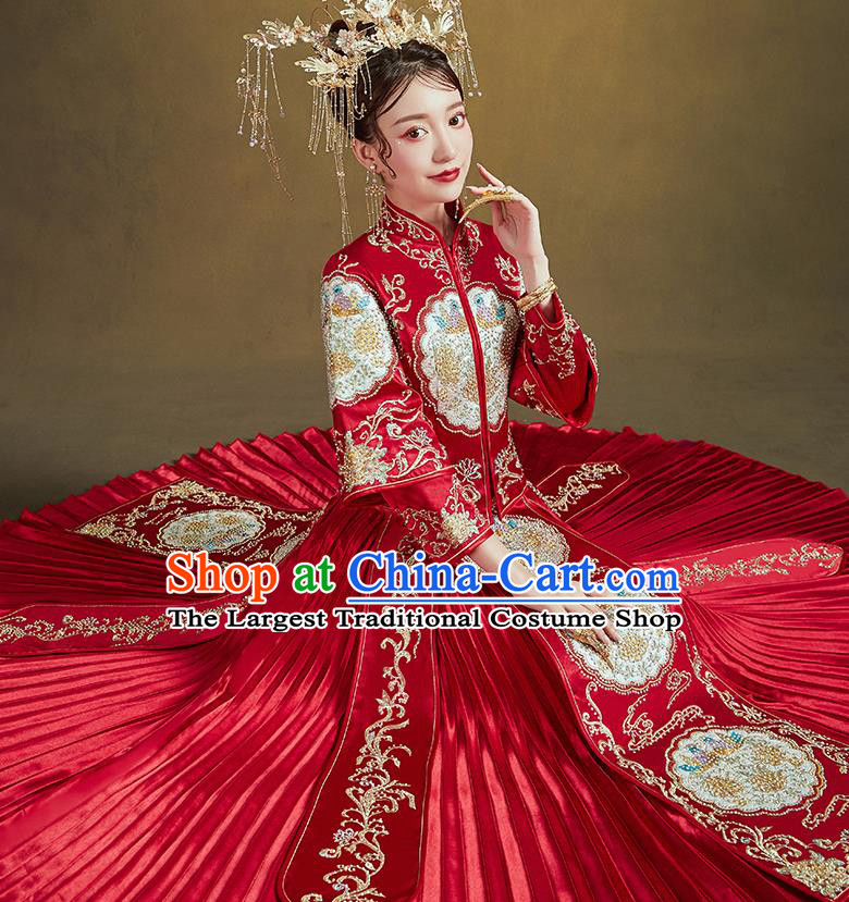 Chinese Traditional Ancient Bride Embroidered Costumes Drilling Mandarin Duck Red Xiu He Suit Wedding Blouse and Dress Bottom Drawer for Women