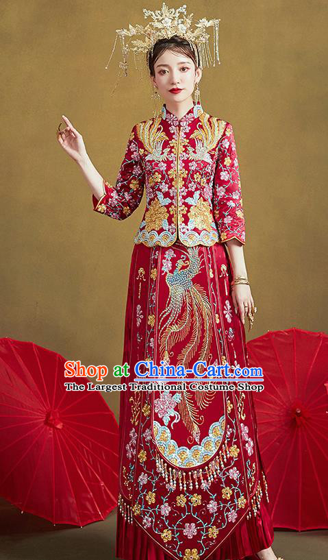 Chinese Traditional Ancient Bride Embroidered Costumes Drilling Phoenix Peony Red Xiu He Suit Wedding Blouse and Dress Bottom Drawer for Women