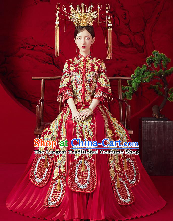 Chinese Ancient Embroidered Drilling Phoenix Blouse and Dress Traditional Bride Red Xiu He Suit Wedding Costumes for Women