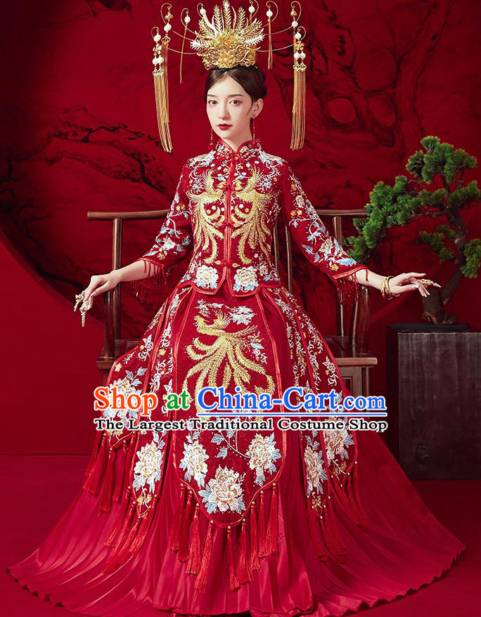 Chinese Ancient Embroidered Phoenix Peony Blouse and Dress Traditional Bride Red Xiu He Suit Wedding Costumes for Women