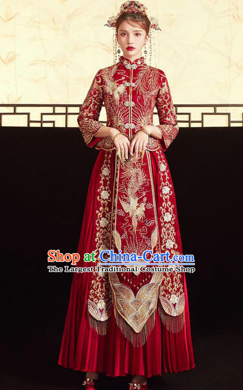 Chinese Ancient Embroidered Phoenix Drilling Blouse and Dress Traditional Bride Red Xiu He Suit Wedding Costumes for Women