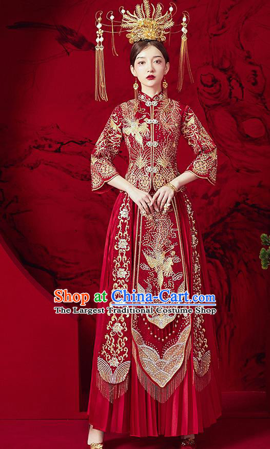 Chinese Ancient Embroidered Phoenix Blouse and Dress Traditional Bride Red Drilling Xiu He Suit Wedding Costumes for Women