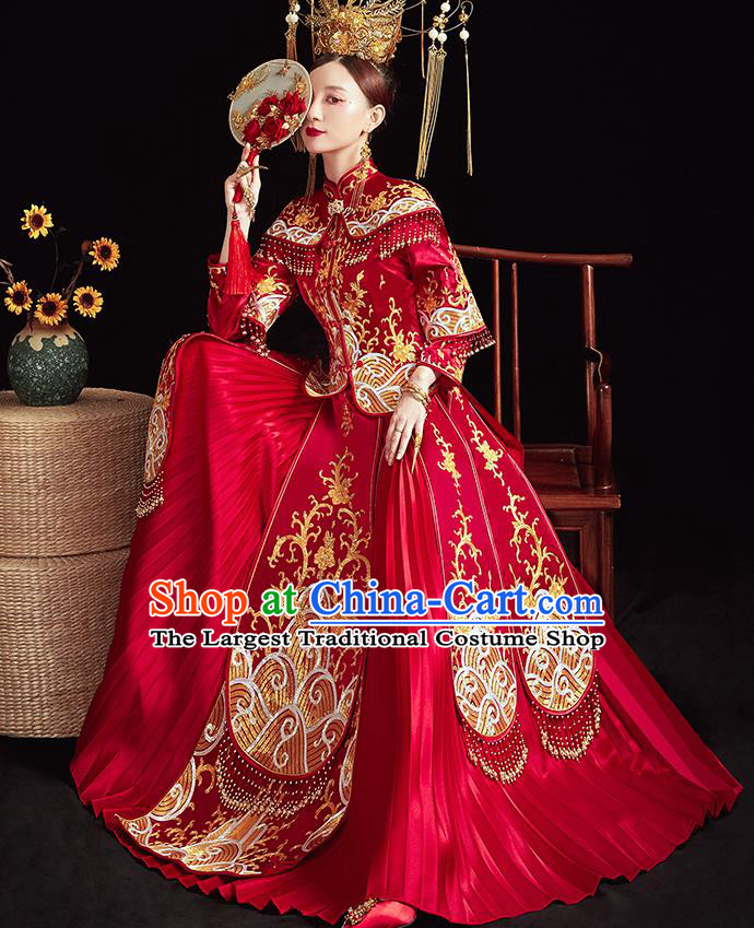 Chinese Ancient Embroidered Waves Red Blouse and Dress Traditional Bride Xiu He Suit Wedding Costumes for Women
