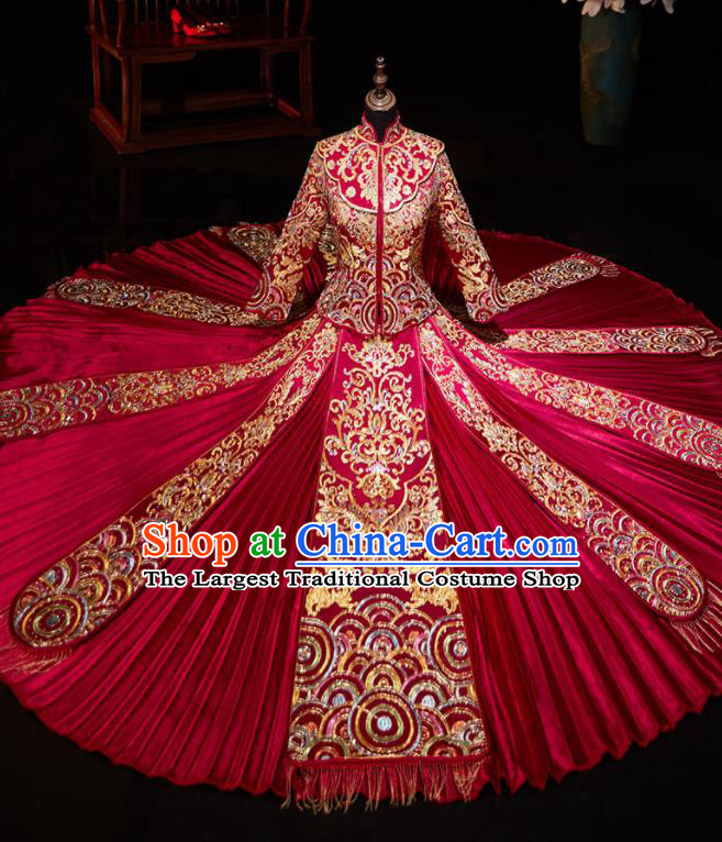 Chinese Ancient Embroidered Drilling Red Blouse and Dress Traditional Bride Xiu He Suit Wedding Costumes for Women