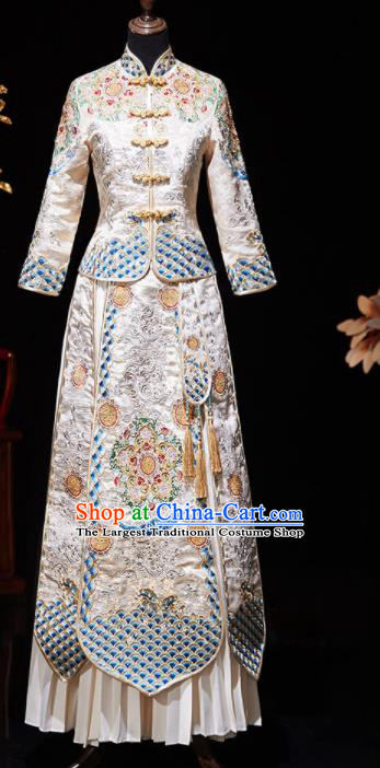 Chinese Ancient Embroidered Drilling White Blouse and Dress Traditional Bride Xiu He Suit Wedding Costumes for Women