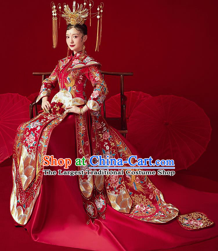 Chinese Ancient Embroidered Peony Flowers Drilling Blouse and Dress Traditional Bride Xiu He Suit Wedding Costumes for Women