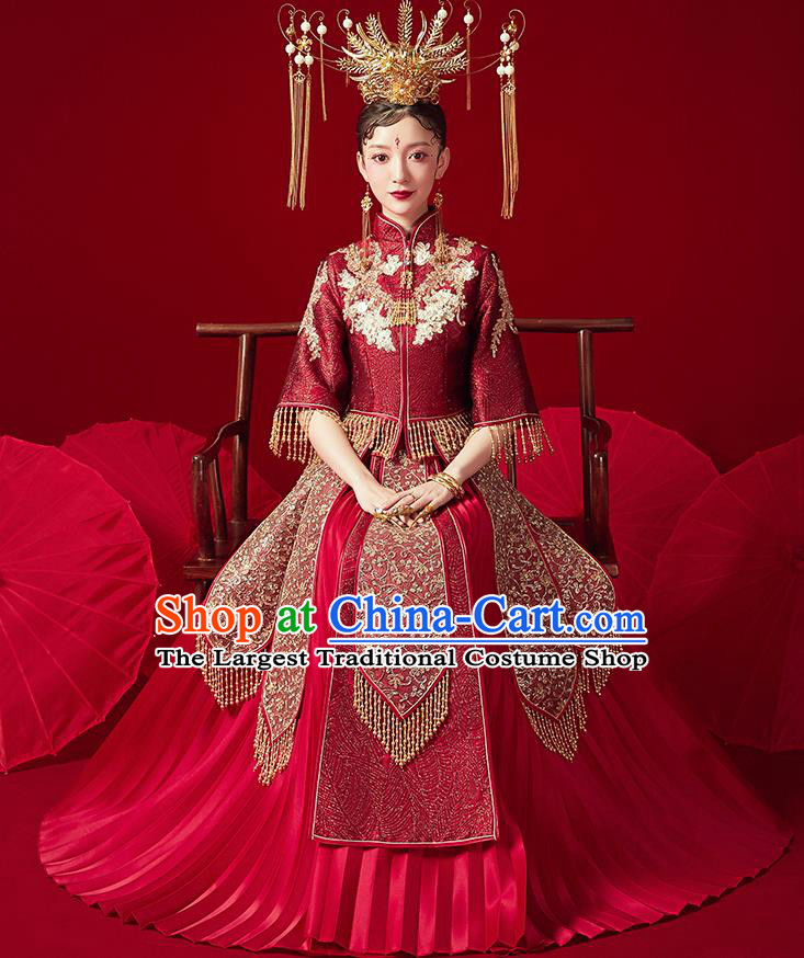 Chinese Ancient Embroidered Drilling Blouse and Dress Traditional Bride Xiu He Suit Wedding Costumes for Women