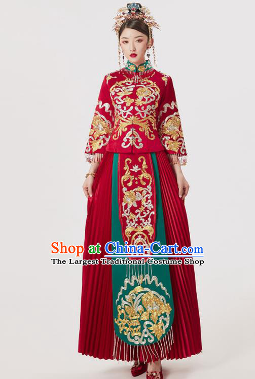 Chinese Ancient Embroidered Blouse and Dress Traditional Bride Drilling Xiu He Suit Wedding Costumes for Women