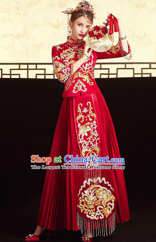Chinese Ancient Embroidered Peony Blouse and Dress Traditional Bride Drilling Xiu He Suit Wedding Costumes for Women
