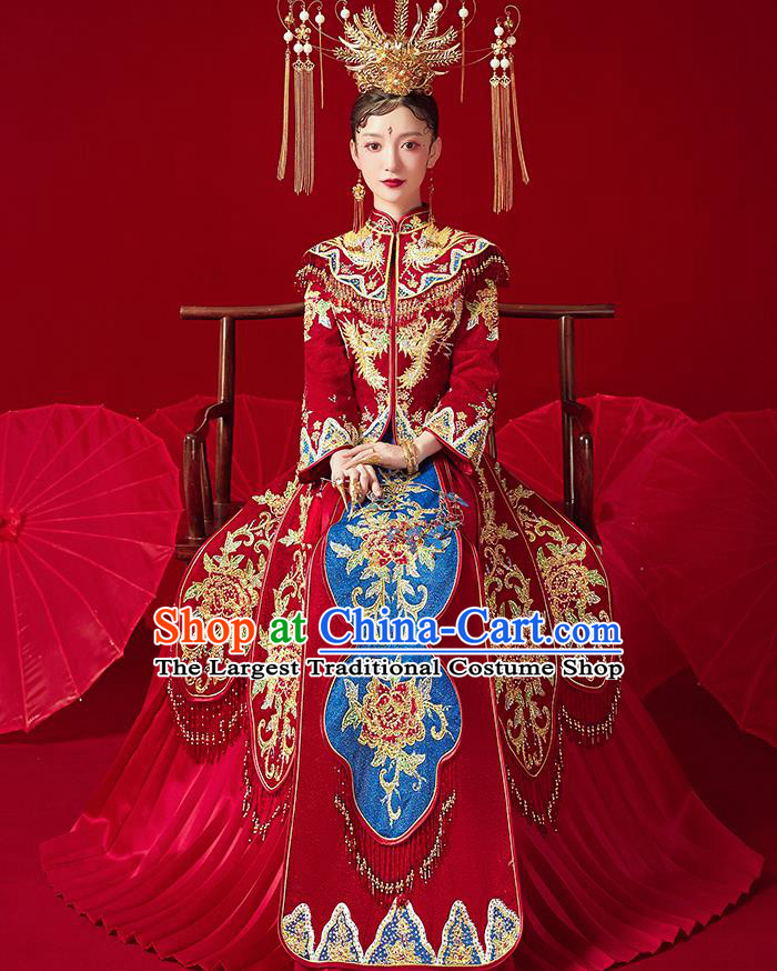 Chinese Ancient Embroidered Phoenix Drilling Peony Blouse and Dress Traditional Bride Xiu He Suit Wedding Costumes for Women