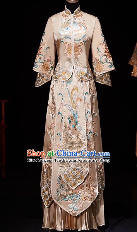 Chinese Ancient Embroidered Champagne Blouse and Dress Traditional Bride Xiu He Suit Wedding Costumes for Women