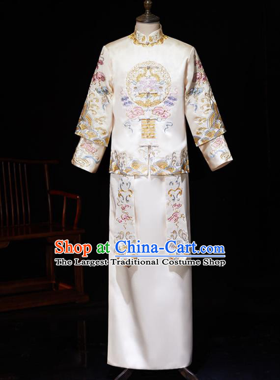 Chinese Ancient Bridegroom Embroidered Peony White Mandarin Jacket and Gown Traditional Wedding Tang Suit Costumes for Men