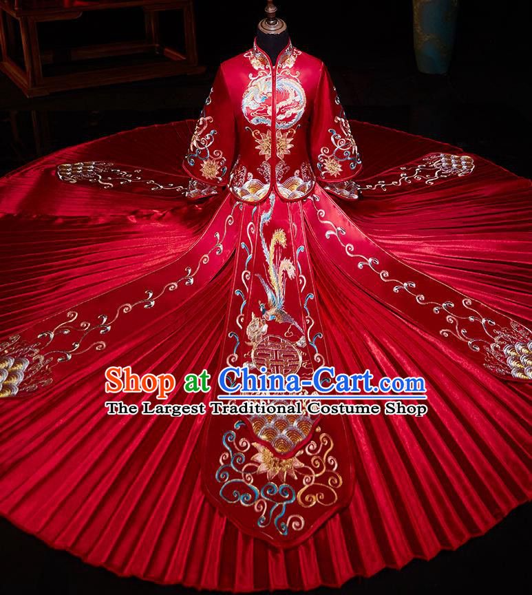 Chinese Ancient Embroidered Phoenix Lotus Red Blouse and Dress Traditional Bride Xiu He Suit Wedding Costumes for Women