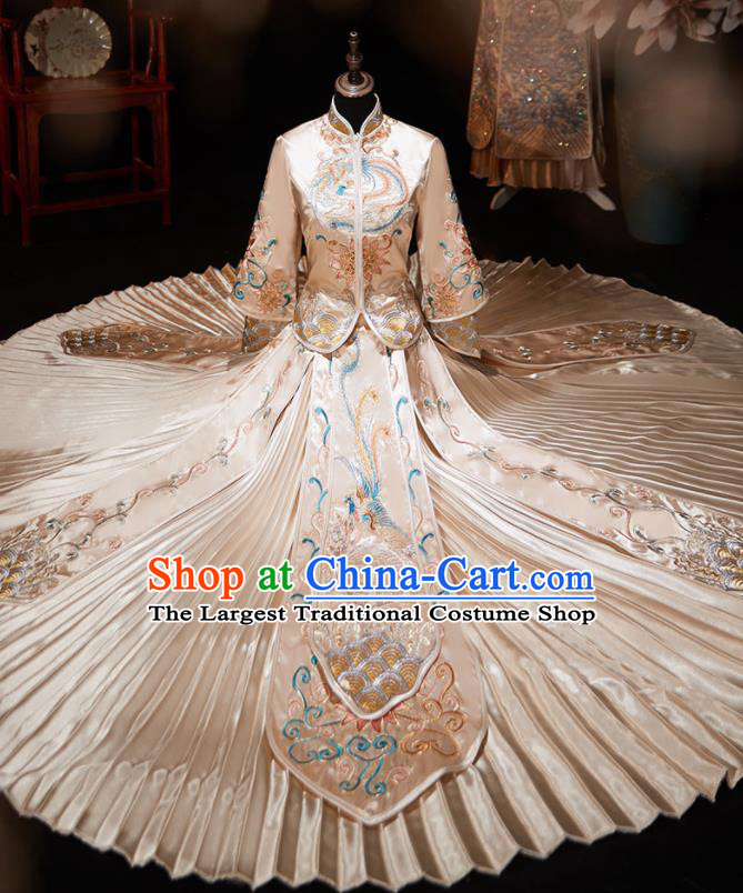 Chinese Ancient Embroidered Phoenix Peony Champagne Blouse and Dress Traditional Bride Xiu He Suit Wedding Costumes for Women