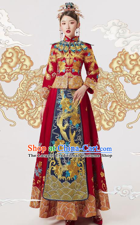 Chinese Ancient Embroidered Red Blouse and Dress Traditional Bride Xiu He Suit Wedding Costumes for Women
