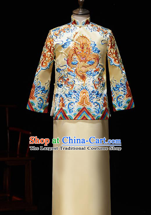 Chinese Ancient Bridegroom Embroidered Dragon Golden Mandarin Jacket and Gown Traditional Wedding Tang Suit Costumes for Men