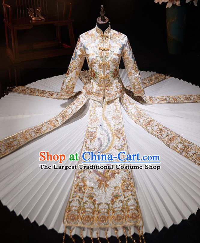 Chinese Ancient Wedding Embroidered Phoenix Champagne Blouse and Dress Traditional Bride Xiu He Suit Costumes for Women