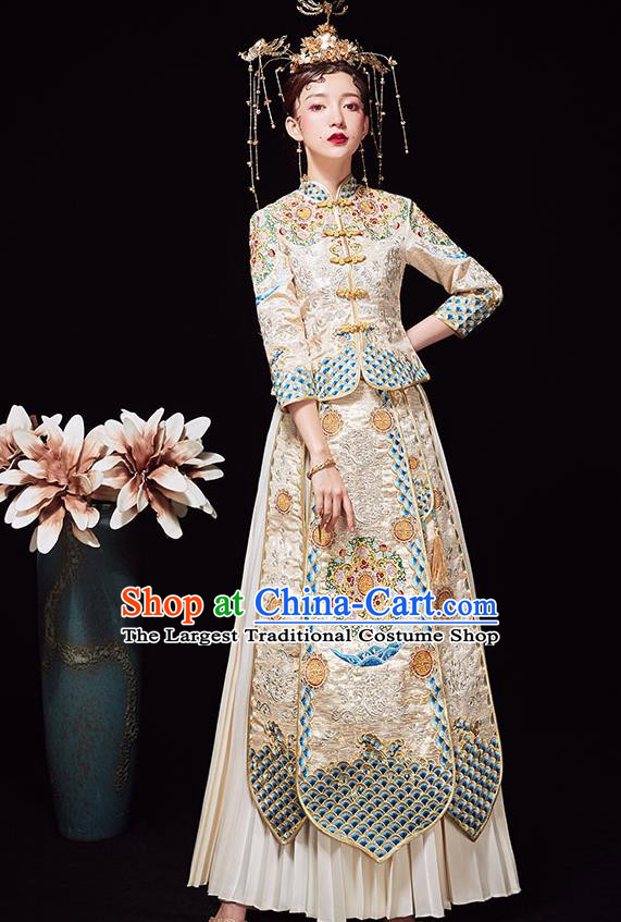 Chinese Ancient Wedding Embroidered Light Golden Blouse and Dress Traditional Bride Xiu He Suit Costumes for Women