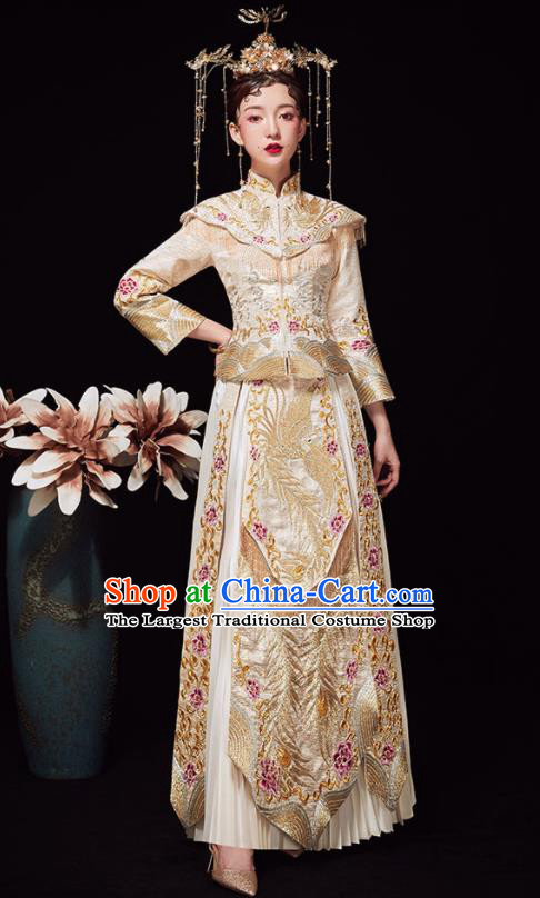 Chinese Ancient Wedding Embroidered Phoenix Peony Golden Blouse and Dress Traditional Bride Xiu He Suit Costumes for Women