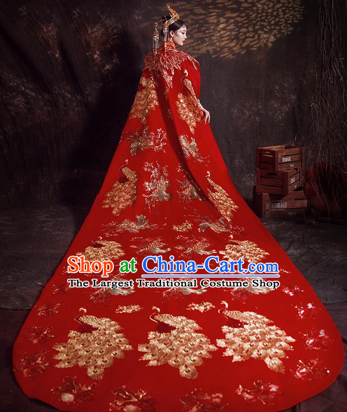 Chinese Ancient Bride Embroidered Peacock Trailing Cape Wedding Costumes Traditional Red Bottom Drawer for Women