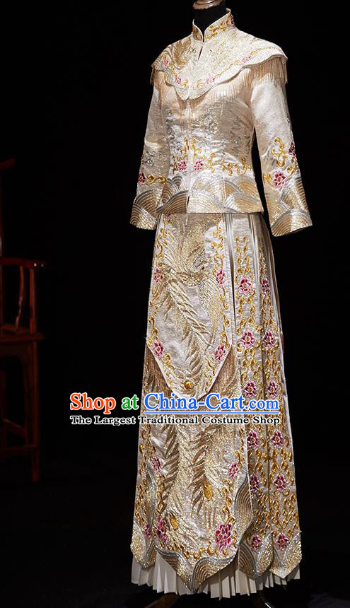 Chinese Ancient Embroidered Phoenix Peony Light Golden Blouse and Dress Traditional Bride Xiu He Suit Wedding Costumes for Women