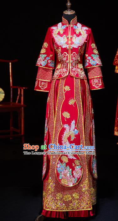 Chinese Ancient Bride Embroidered Diamante Phoenix Xiu He Suit Wedding Costumes Traditional Red Bottom Drawer for Women