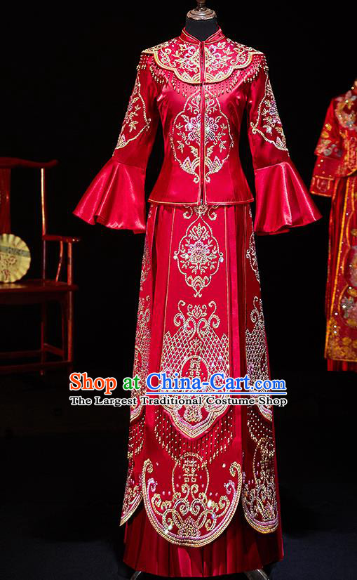 Chinese Ancient Bride Embroidered Diamante Xiu He Suit Wedding Costumes Traditional Red Bottom Drawer for Women