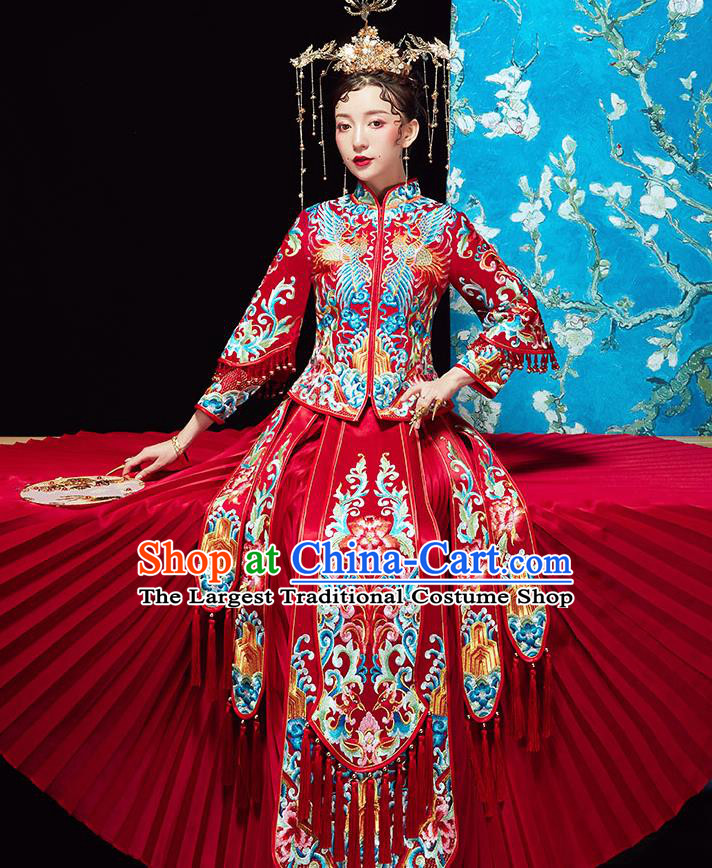 Chinese Ancient Wedding Embroidered Flowers Red Blouse and Dress Traditional Bride Xiu He Suit Costumes for Women