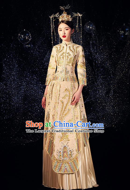 Chinese Ancient Wedding Embroidered Phoenix Golden Blouse and Dress Traditional Bride Xiu He Suit Costumes for Women