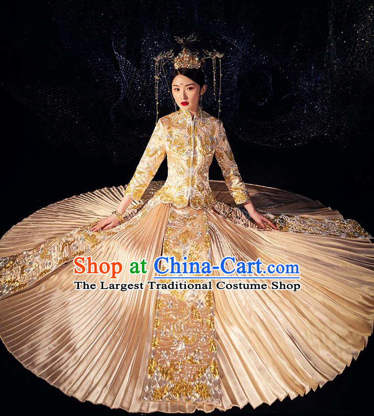 Chinese Ancient Wedding Embroidered Dragon Golden Blouse and Dress Traditional Bride Xiu He Suit Costumes for Women