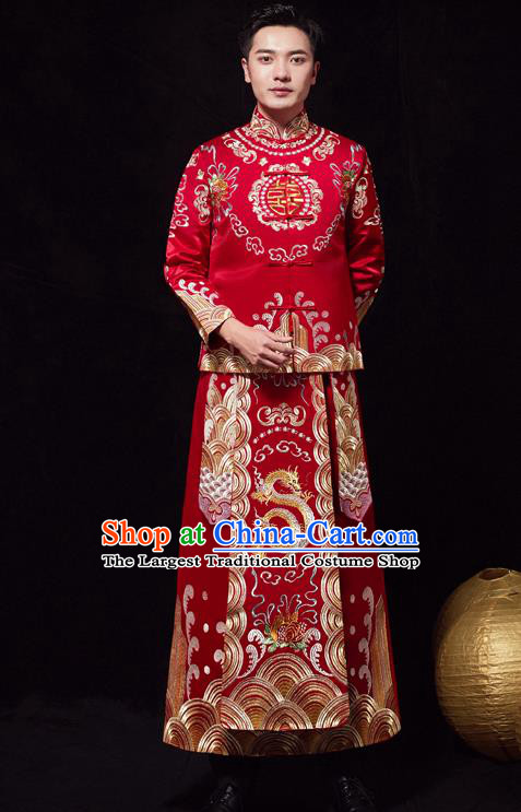 Chinese Ancient Bridegroom Embroidered Dragon Peony Red Mandarin Jacket and Gown Traditional Wedding Tang Suit Costumes for Men