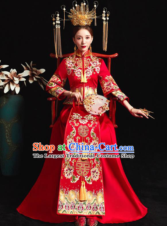 Chinese Ancient Wedding Embroidered Peony Flowers Red Blouse and Dress Traditional Bride Xiu He Suit Costumes for Women