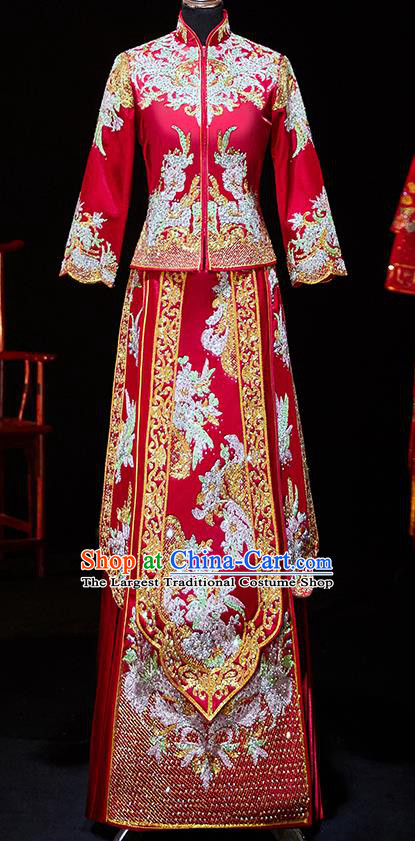 Chinese Ancient Bride Embroidered Diamante Blouse and Dress Xiu He Suit Wedding Costumes Traditional Red Bottom Drawer for Women