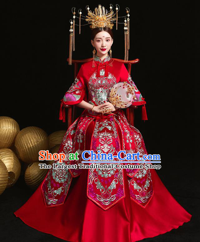 Chinese Ancient Wedding Embroidered Red Blouse and Dress Traditional Bride Xiu He Suit Costumes for Women