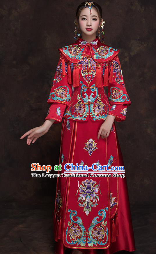Chinese Ancient Wedding Embroidered Lotus Red Blouse and Dress Traditional Bride Xiu He Suit Costumes for Women