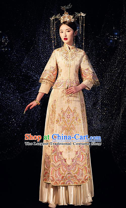 Chinese Ancient Wedding Embroidered Diamante Golden Blouse and Dress Traditional Bride Xiu He Suit Costumes for Women