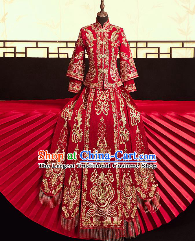 Chinese Ancient Bride Embroidered Blouse and Dress Diamante Xiu He Suit Wedding Costumes Traditional Red Bottom Drawer for Women