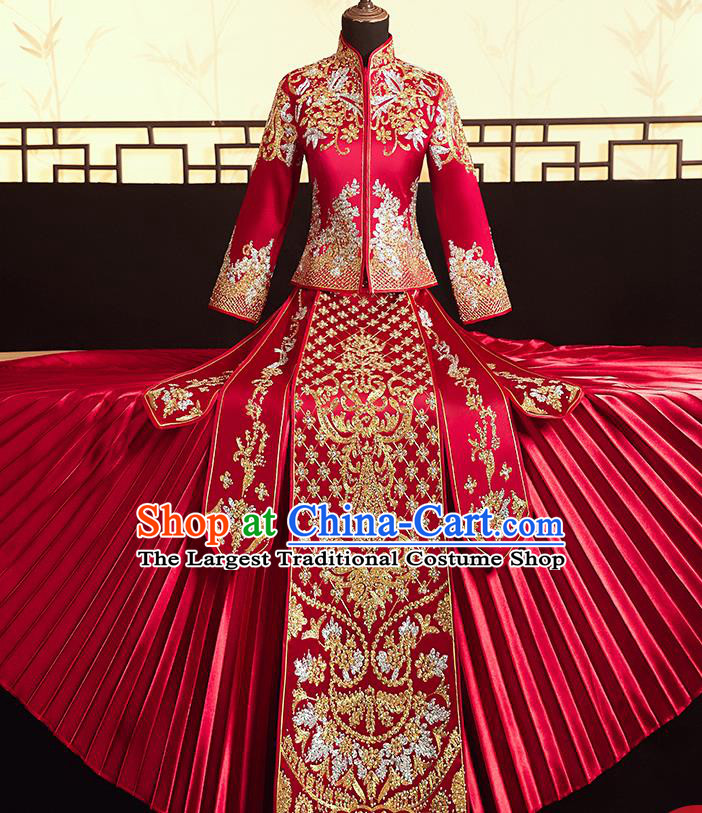Chinese Ancient Bride Embroidered Flowers Blouse and Dress Diamante Xiu He Suit Wedding Costumes Traditional Red Bottom Drawer for Women