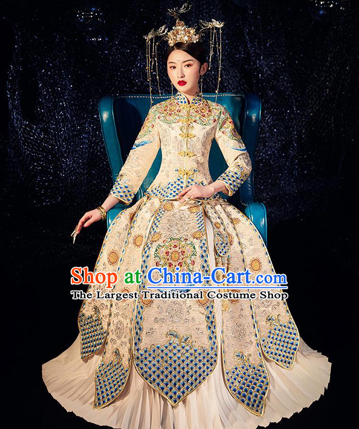 Chinese Ancient Wedding Embroidered Diamante Peony Golden Blouse and Dress Traditional Bride Xiu He Suit Costumes for Women
