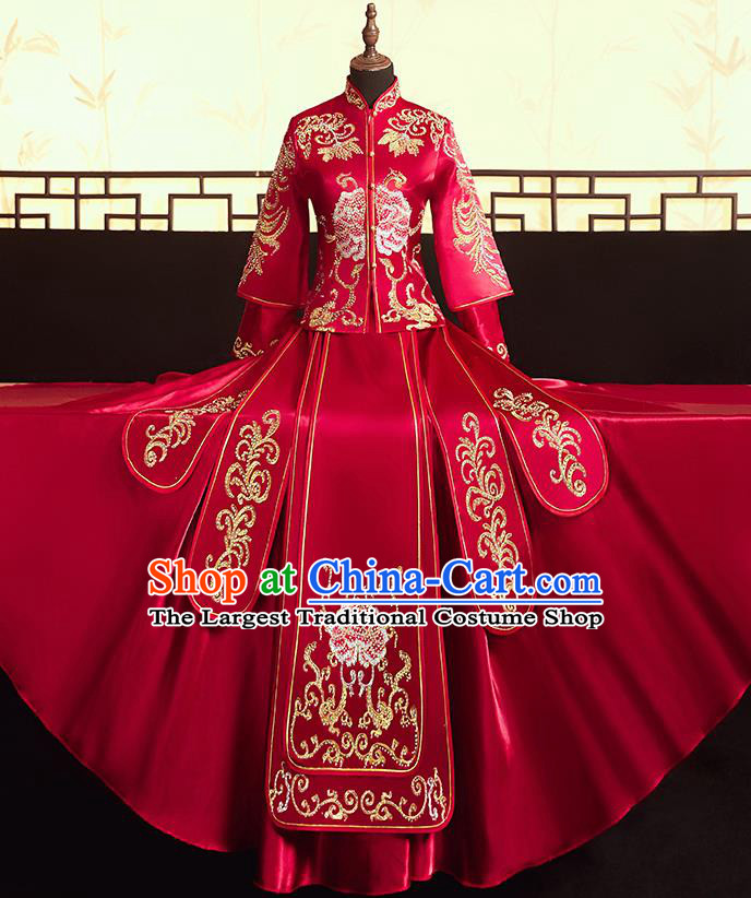 Chinese Ancient Bride Embroidered Peony Blouse and Dress Diamante Xiu He Suit Wedding Costumes Traditional Red Bottom Drawer for Women