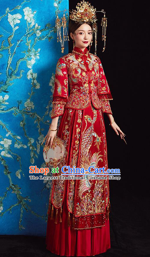 Chinese Ancient Bride Embroidered Phoenix Blouse and Dress Diamante Xiu He Suit Wedding Costumes Traditional Red Bottom Drawer for Women